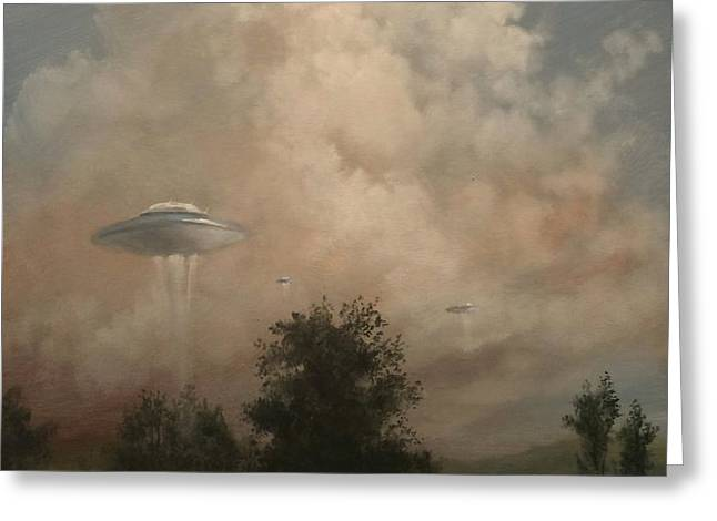 UFO's - A Scouting Party Greeting Card by Tom Shropshire