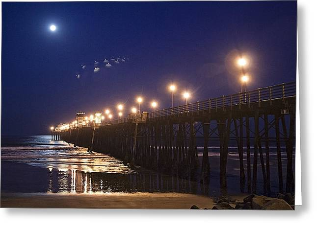Ufo's Over Oceanside Pier Greeting Card by Ann Patterson