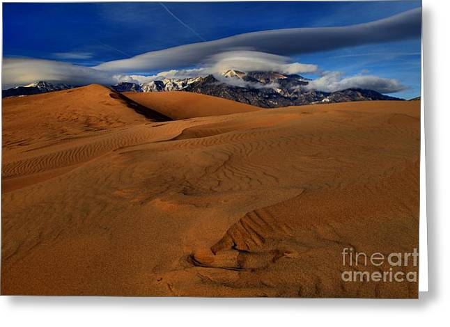 Large Sand Dunes Greeting Cards - UFOs Over Sand Dunes Greeting Card by Adam Jewell