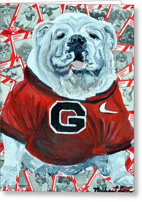 Georgia Bulldog Greeting Cards - UGA Bulldog II Greeting Card by Michael Lee