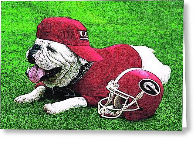 Sec Greeting Cards - Uga with Helmet Greeting Card by Herb Strobino