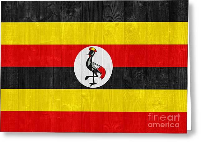 White Greeting Cards - Uganda flag Greeting Card by Luis Alvarenga