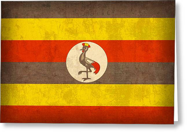 National Mixed Media Greeting Cards - Uganda Flag Vintage Distressed Finish Greeting Card by Design Turnpike