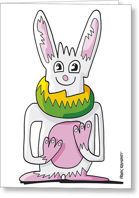 Ugly Rabbit Doodle Character Greeting Card by Frank Ramspott