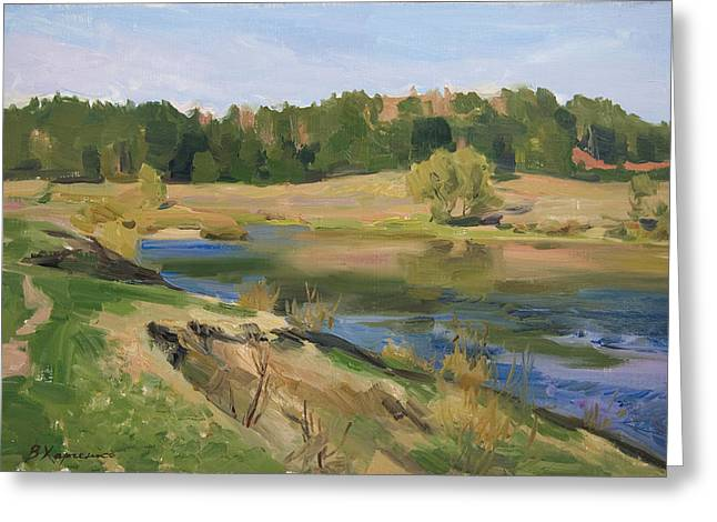 River Paintings Greeting Cards - Ugra river Greeting Card by Victoria Kharchenko
