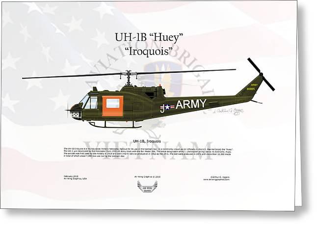 Arthur Eggers Greeting Cards - UH-1B Iroquois Huey Greeting Card by Arthur Eggers