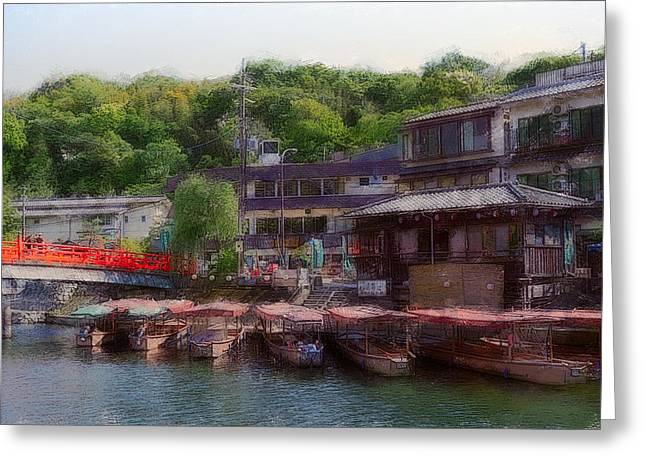Kyoto Greeting Cards - Uji River Boathouse - Kyoto Greeting Card by Daniel Hagerman