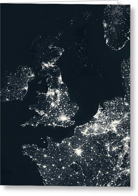 Planet Earth Greeting Cards - UK and Europe at night Greeting Card by Science Photo Library