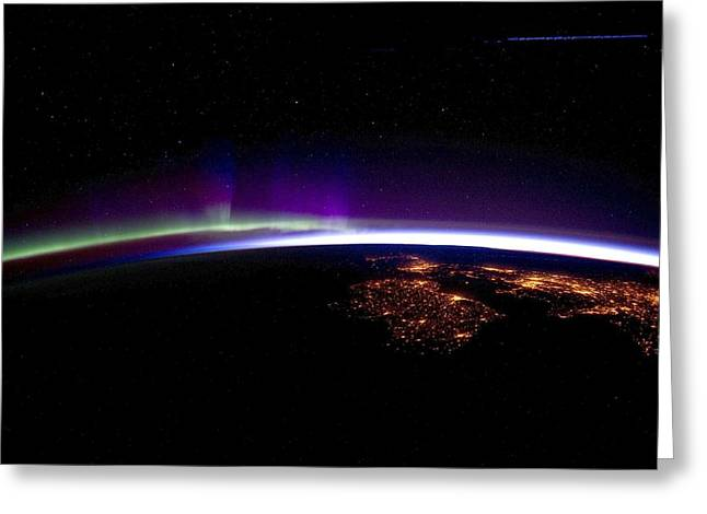 March 2012 Greeting Cards - UK and Ireland at night, ISS image Greeting Card by Science Photo Library