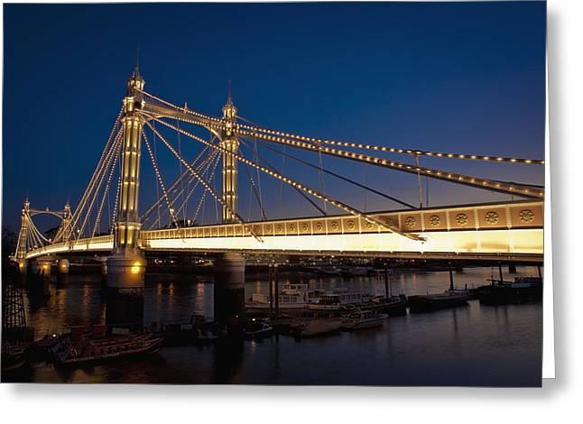 Chelsea Greeting Cards - Uk, England, Albert Bridge At Night Greeting Card by Dosfotos