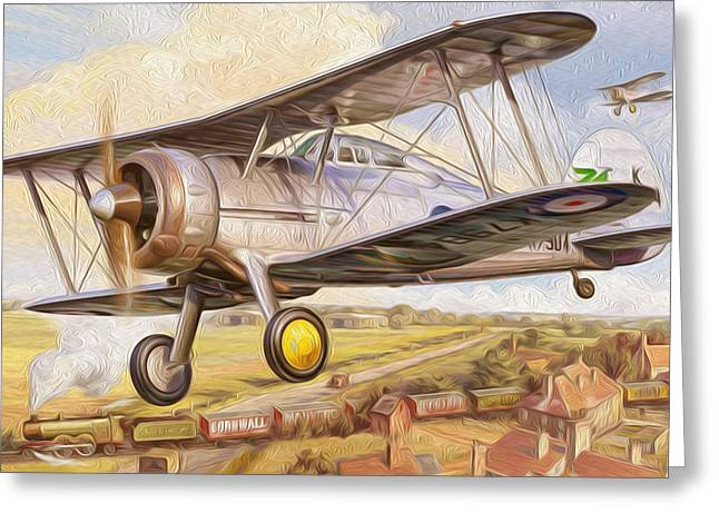 World War One Paintings Greeting Cards - UK fighter biplane Greeting Card by Lanjee Chee