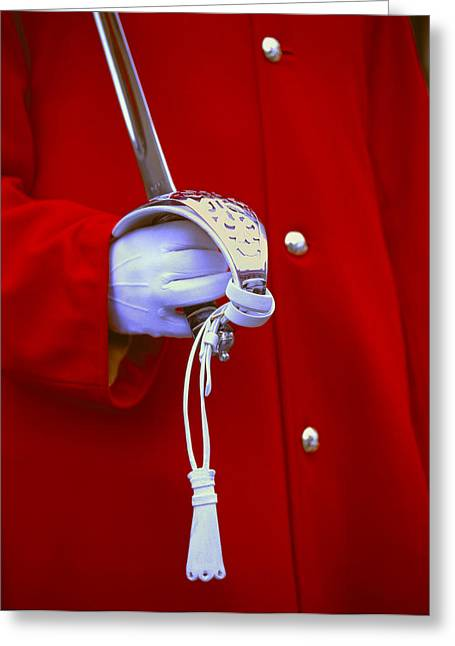 Guarantee Greeting Cards - Uk, London, Royal Guard Detail Of Sword Greeting Card by Tips Images