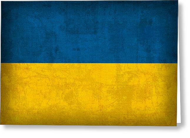 National Symbol Greeting Cards - Ukraine Flag Vintage Distressed Finish Greeting Card by Design Turnpike