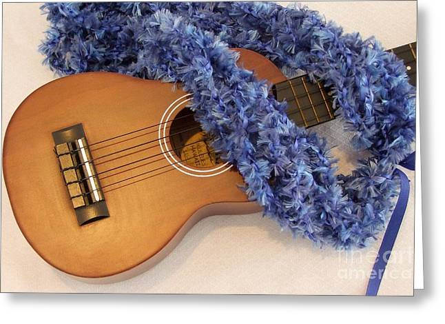 Mary Deal Greeting Cards - Ukulele and Blue Ribbon Lei Greeting Card by Mary Deal