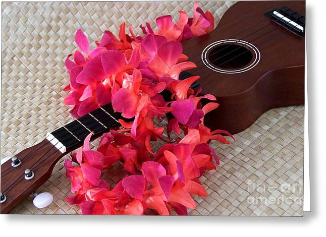 Mary Deal Greeting Cards - Ukulele and Red Lei Greeting Card by Mary Deal
