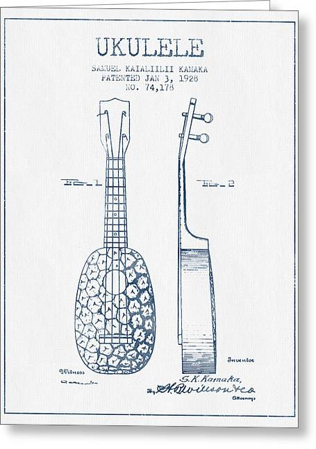 Ukulele Patent Drawing From 1928 - Blue Ink Greeting Card by Aged Pixel