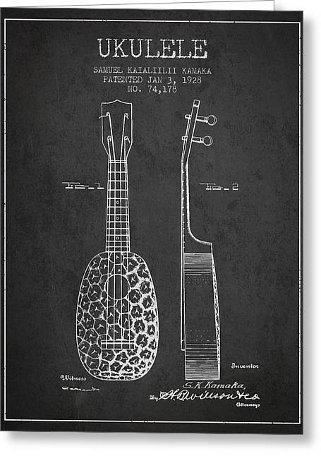 String Instrument Greeting Cards - Ukulele Patent Drawing from 1928 - Dark Greeting Card by Aged Pixel