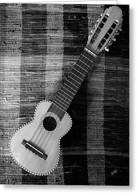 Playing Musical Instruments Greeting Cards - Ukulele Still Life In Black And White Greeting Card by Ben and Raisa Gertsberg