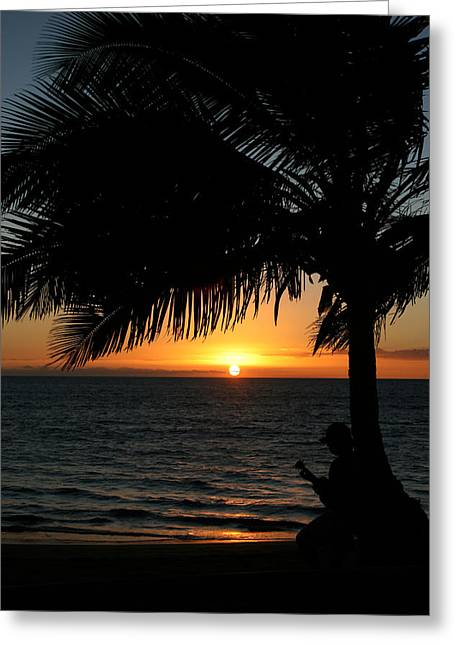 Angel Delight Greeting Cards - Ukulele Sunset Greeting Card by Ronald Suffron