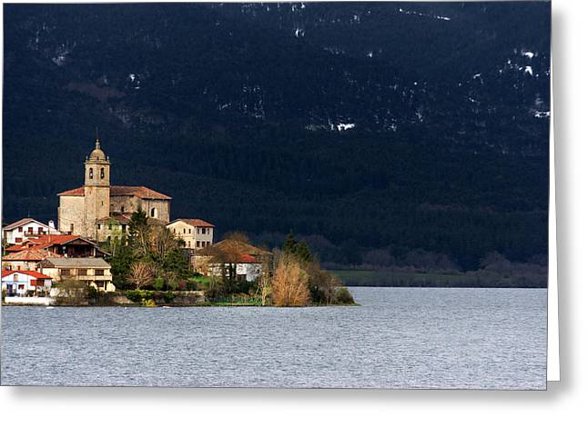 Pais Vasco Greeting Cards - Ullibarri Gamboa village surrounded by zadorra reservoir Greeting Card by Mikel Martinez de Osaba