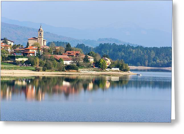 Pais Vasco Greeting Cards - Ullibarri Gamboa village surrounding by reservoir Greeting Card by Mikel Martinez de Osaba