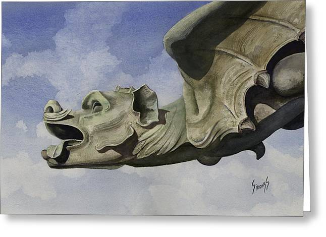 Steeples Greeting Cards - Ulmer Munster Gargoyle Greeting Card by Sam Sidders