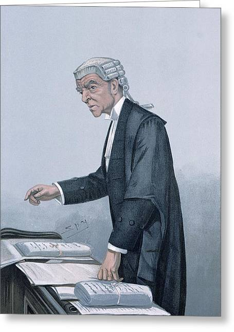 Barrister Greeting Cards - Ulsterman Kc Colour Litho Greeting Card by Leslie Mathew Ward