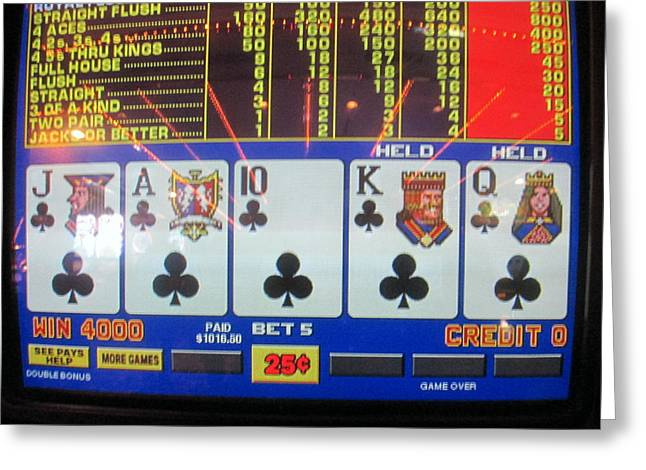 High Stakes Greeting Cards - Ultimate Poker Hand Greeting Card by Kay Novy