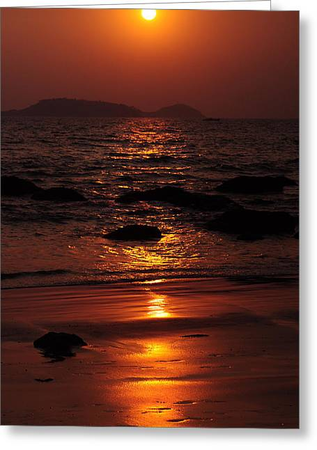 Lanscape Greeting Cards - Ultimate Time of the Day. Goan Coast. India Greeting Card by Jenny Rainbow