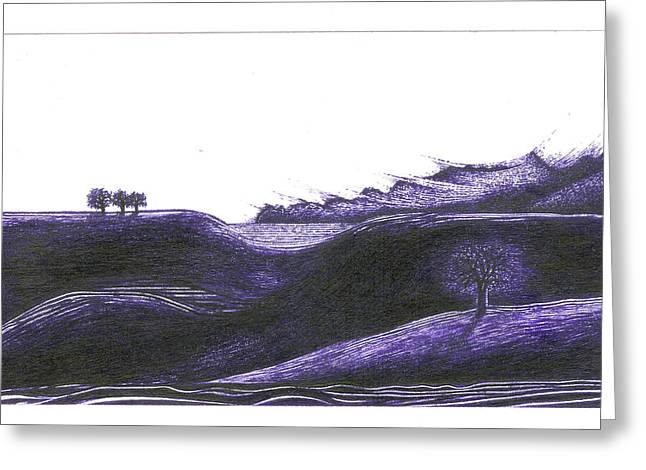 Surreal Landscape Drawings Greeting Cards - Ultra Violet Greeting Card by Joshua Beard