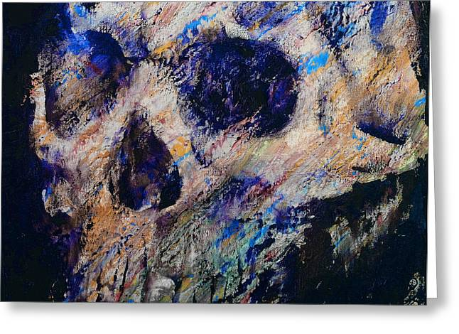 Blue Drip Greeting Cards - Ultraviolet Skull Greeting Card by Michael Creese