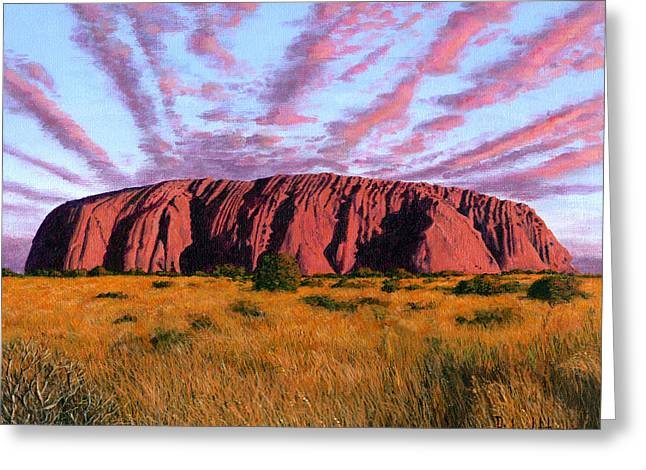Aborigine Greeting Cards - Uluru Sunset Ayers Rock Central Australia Greeting Card by Richard Harpum