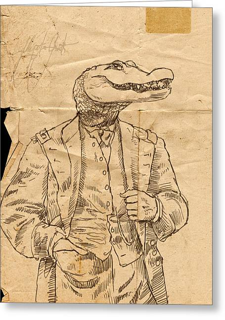 General Alligator Greeting Card by H James Hoff