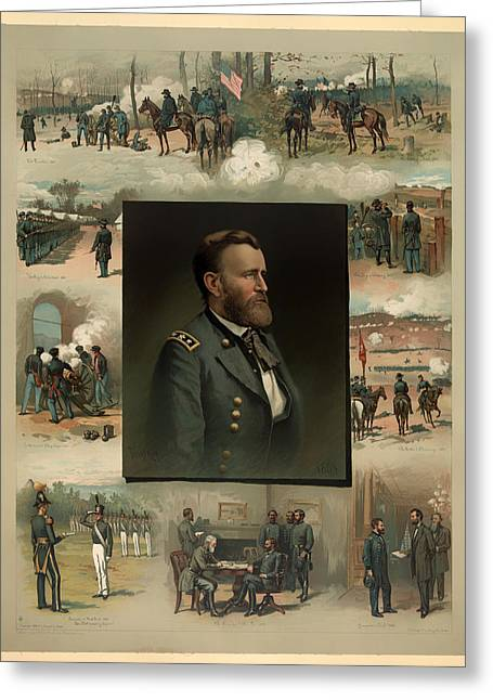 Mexican Drawings Greeting Cards - Ulysses S Grant - From West Point to Appomattox  Greeting Card by Mountain Dreams
