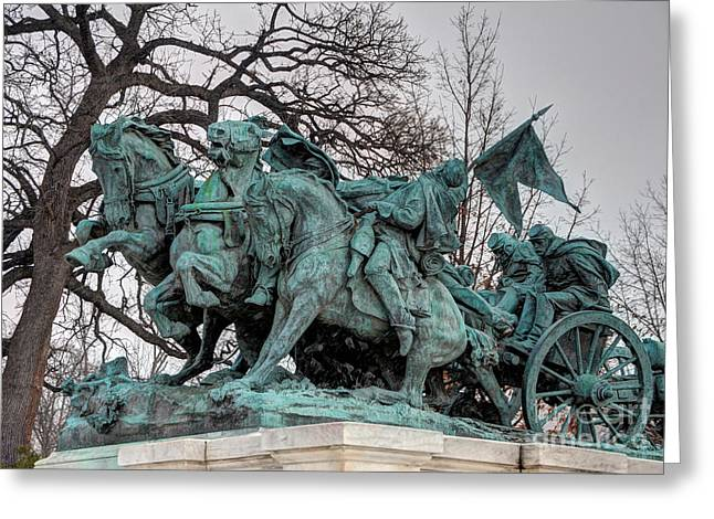 Charging Horses Greeting Cards - Ulysses S. Grant Memorial - Artillery Statue  Greeting Card by Gary Whitton