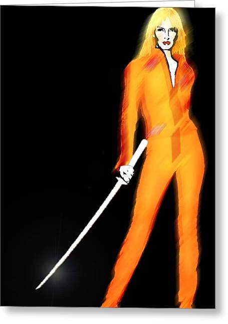 Uma Thurman Kill Bill Greeting Card by Tony Rubino