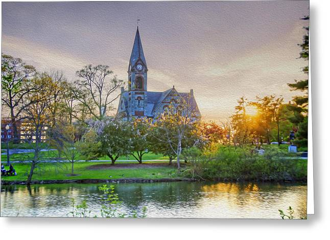Umass Greeting Cards - UMass Sunset Greeting Card by Donna Doherty