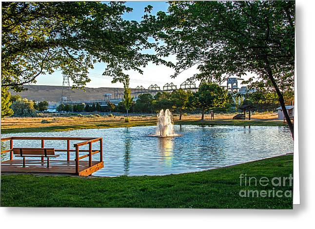Wildlife Refuge. Greeting Cards - Umatilla Fountain Pond Greeting Card by Robert Bales