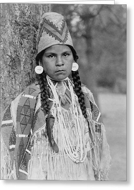 Earrings Photographs Greeting Cards - Umatilla Girl Circa 1910 Greeting Card by Aged Pixel