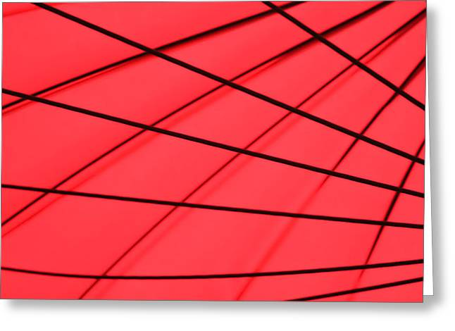 Geometrical Greeting Cards - Red and Black Abstract Greeting Card by Tony Grider