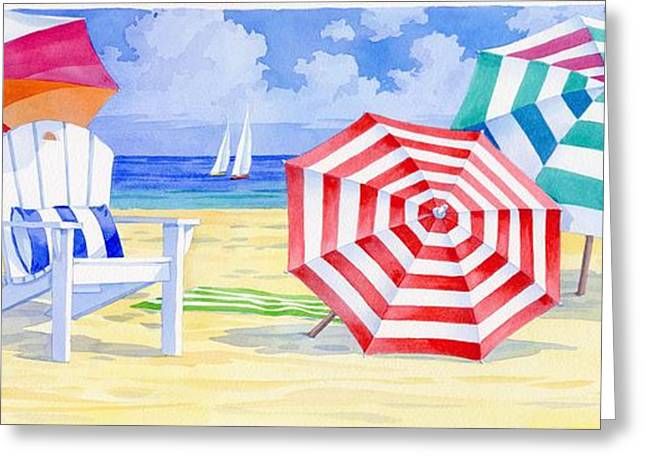 Blue Sailboats Greeting Cards - Umbrella Beach Greeting Card by Paul Brent