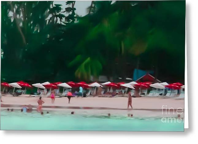 Swimmers Greeting Cards - Umbrella Beach Greeting Card by Perry Webster