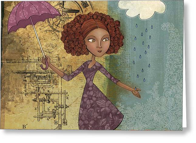 Girl Digital Greeting Cards - Umbrella Girl Greeting Card by Karyn Lewis Bonfiglio