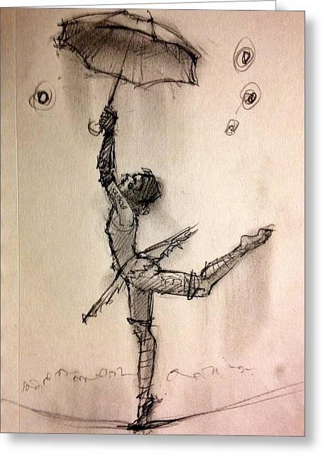Umbrella Greeting Card by H James Hoff