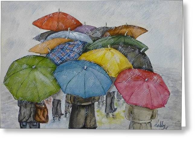 Raining Greeting Cards - Umbrella Huddle Greeting Card by Kelly Mills