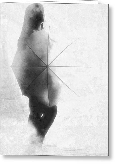 Raunchy Greeting Cards - Umbrella in the mist Greeting Card by KJ Bruce - Infinity Fusion Art