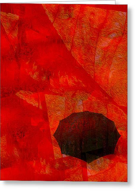 Puddle Digital Art Greeting Cards - Umbrella Greeting Card by Jack Zulli
