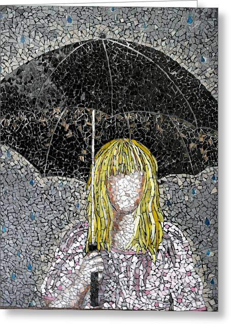 Glass Beads Glass Art Greeting Cards - Umbrella  Greeting Card by Monique Sarfity