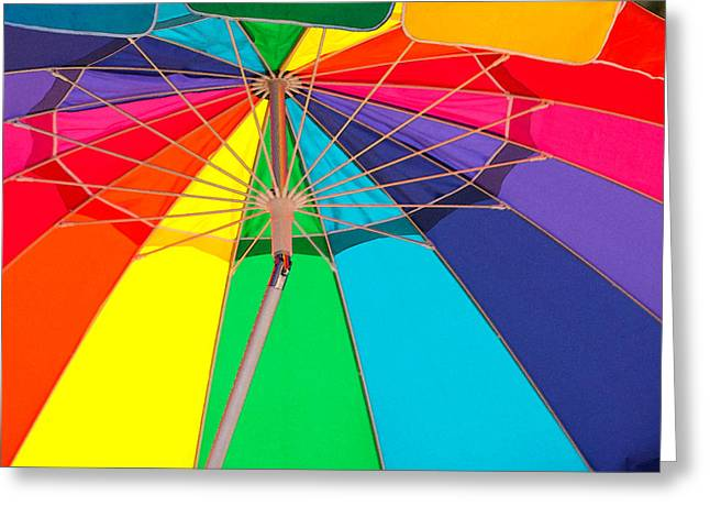 Rainbow Umbrella Greeting Cards - Umbrella of Many Colors Greeting Card by Art Block Collections
