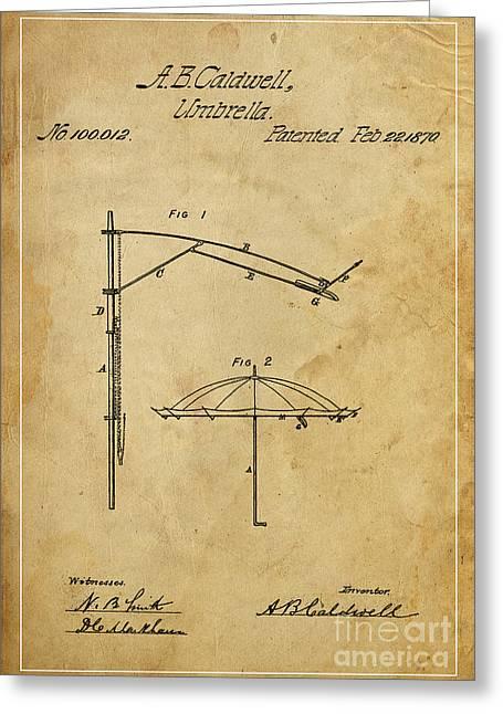 Umbrellas Mixed Media Greeting Cards - Umbrella Patent - A.B. Caldwell Greeting Card by Pablo Franchi
